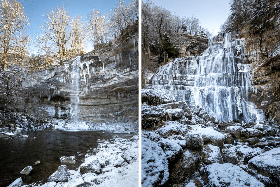les cascades du hérisson en hiver