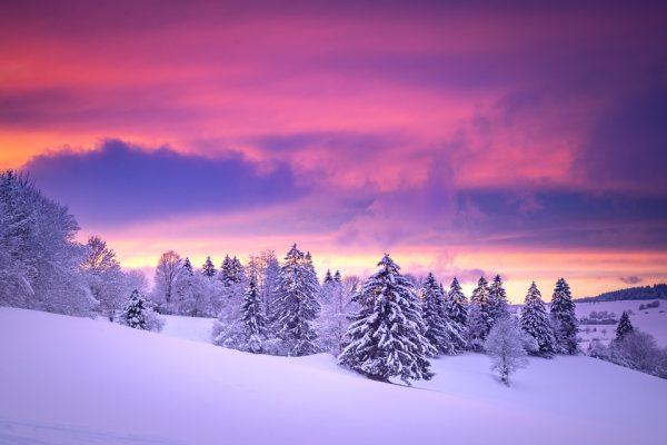 coucher soleil doubs hiver