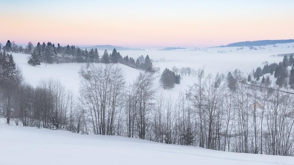 haut doubs hiver sunrise