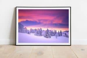 coucher de soleil rose et blanc