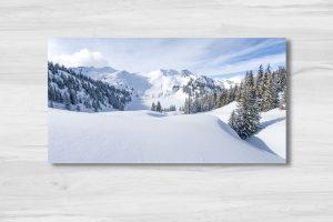 lac sous la neige dans les alpes suisse